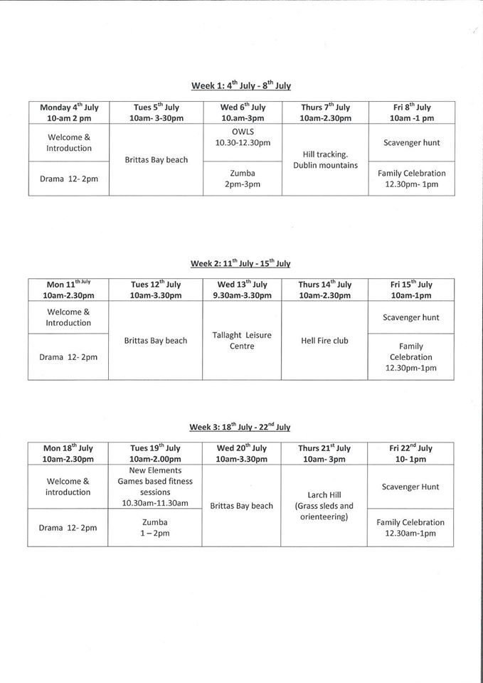Summer Project 2016 Timetable – St Kevin\'s Family Resource Centre